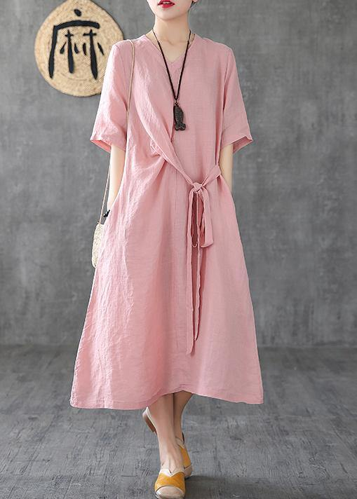 Natural v neck tunic linen dresses Fashion Ideas pink Dress summer