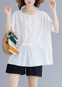 Natural white cotton Blouse o neck half sleeve loose summer top