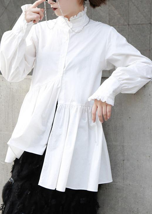 Natural white cotton clothes For Women ruffles stand collar loose summer blouse