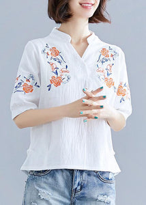 Natural white embroidery linen clothes Work Outfits v neck summer blouses