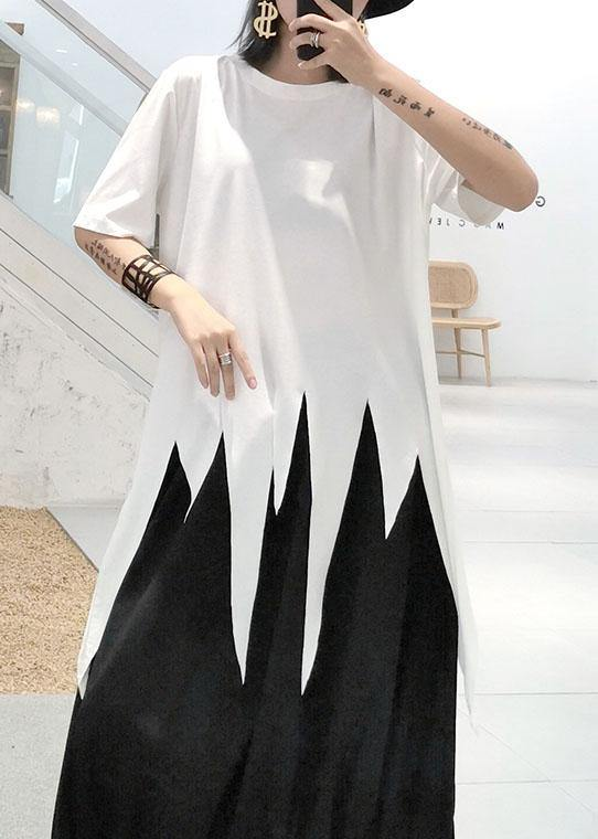 Natural white o neck cotton clothes For Women asymmetric hem silhouette summer top