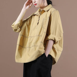 Natural yellow clothes lapel baggy Midi blouse