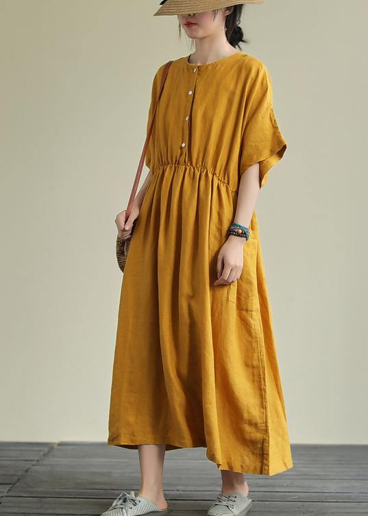 Natural yellow linen outfit o neck elastic waist linen robes summer Dresses