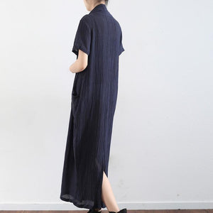 Navy cross design texture linen maxi dresses short sleeved casual caftans elegant