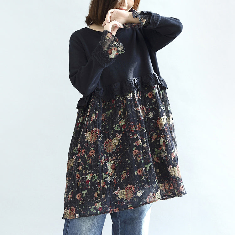 Navy floral patchwork cotton dresses maternity dress sweet knit sweaters
