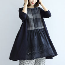 Load image into Gallery viewer, Navy plaid cotton dresses long sleeved maternity dress casual style