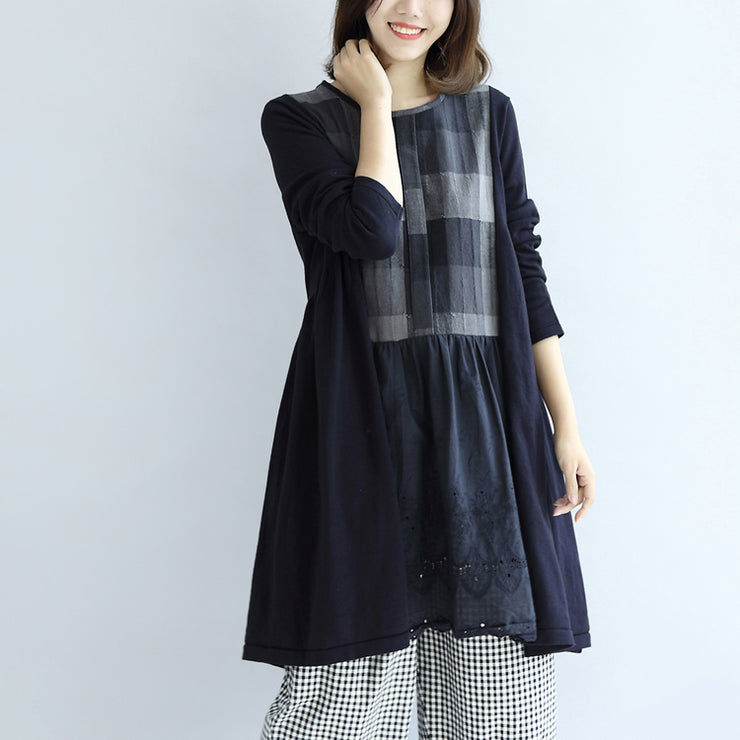 Navy plaid cotton dresses long sleeved maternity dress casual style