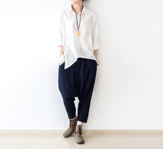 Navy plus size linen pants loose harem pants long oversized