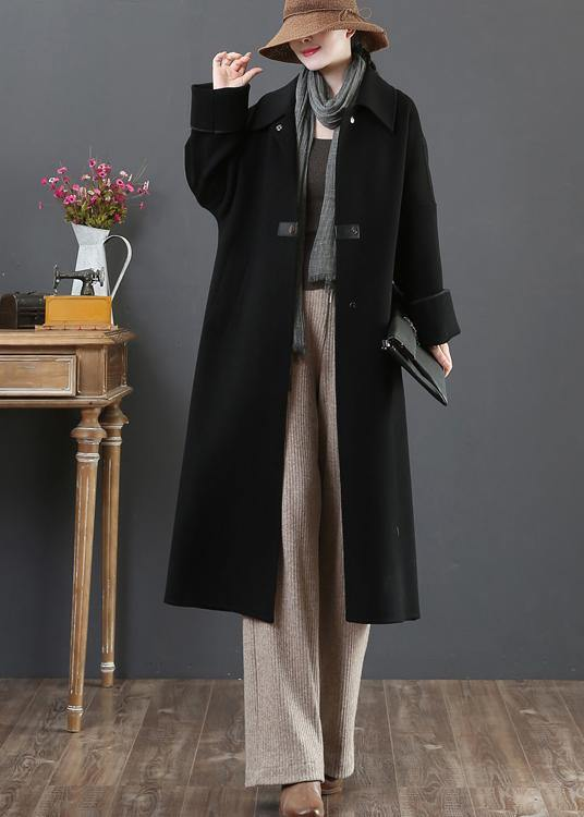 New  Loose fitting long coat winter coats black lapel pockets woolen coats