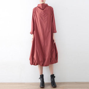 New 2017 fall dresses pink baggy maxi dress caftans oversized gown high neck
