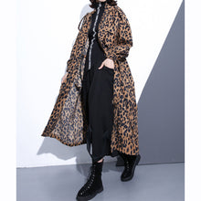 Load image into Gallery viewer, New Leopard coats plus size clothing Stand zippered trench coat women long sleeve pockets baggy cotton blended Coat