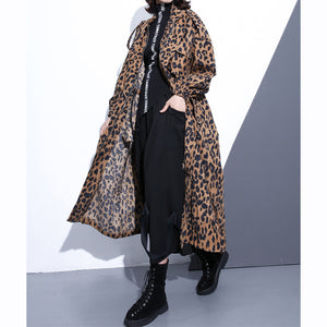 New Leopard coats plus size clothing Stand zippered trench coat women long sleeve pockets baggy cotton blended Coat