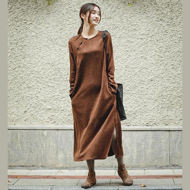 New Loose Brown Knitted Maxi Dresses Women Casual Clothes