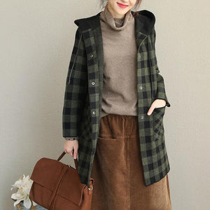 New Loose Hoodie Plaid Thicken Coat Women 2018 Casual Jackets
