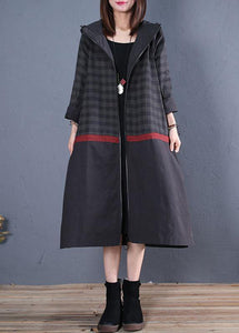 New Loose fitting long coat fall coat black hooded patchwork coat