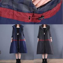 Load image into Gallery viewer, New Loose fitting long coat fall coat black hooded patchwork coat