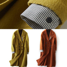 Load image into Gallery viewer, New Loose fitting long winter coat side open outwear green Notched Woolen Coats Women