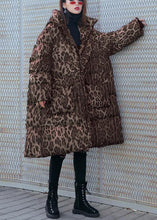 Load image into Gallery viewer, New Loose fitting snow jackets thick coats Leopard hooded Parkas