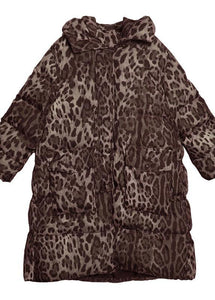 New Loose fitting snow jackets thick coats Leopard hooded Parkas