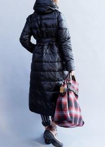New Loose fitting women parka stand collar coats black tie waist down jacket woman