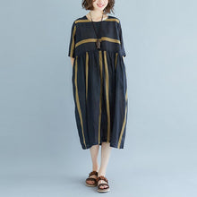 Load image into Gallery viewer, New Midi-length linen dress oversized Round Neck Short Sleeve Pockets Stripe Pleated Slit Dress