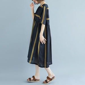 New Midi-length linen dress oversized Round Neck Short Sleeve Pockets Stripe Pleated Slit Dress