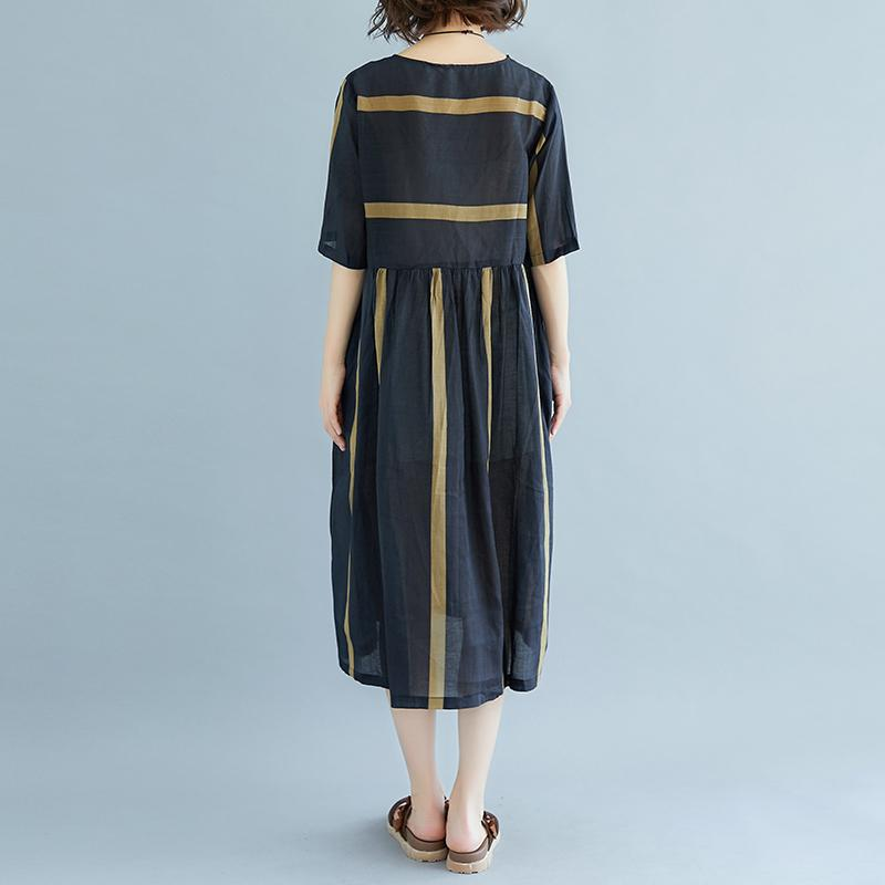 ed00144d6e4 ... New Midi-length linen dress oversized Round Neck Short Sleeve Pockets  Stripe Pleated Slit Dress ...