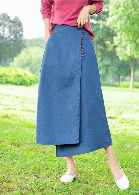 New Retro Blue irregular skirt