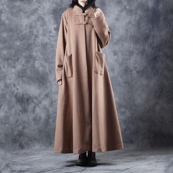 New Women Vintage Loose Beige Long Woolen Thick Coat