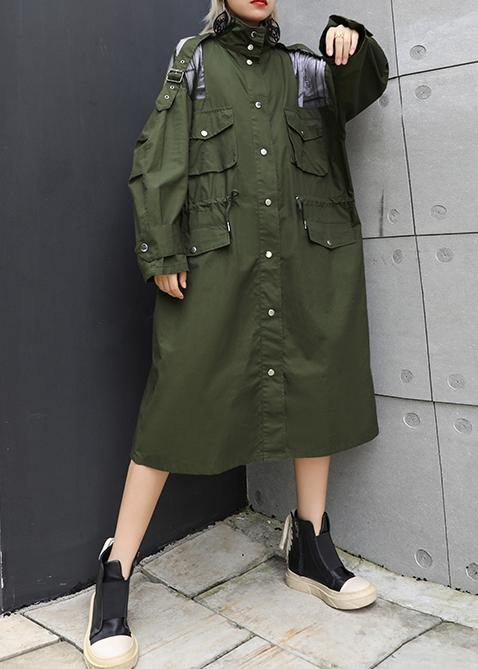 New army green overcoat trendy plus size long lapel drawstring coats