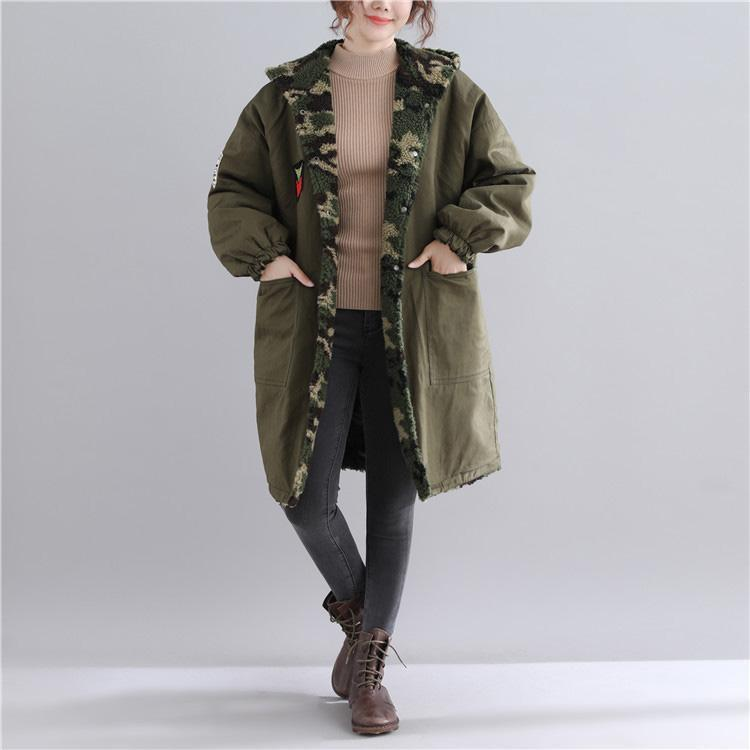 New army green parkas casual hooded jacket Fine pockets outwear