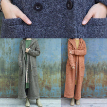 Load image into Gallery viewer, New army green woolen outwear plussize double breastmaxi coat hooded jackets