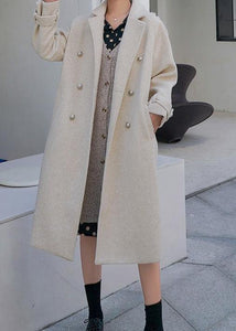 New beige woolen outwear plus size clothing maxi coat back open woolen outwear double breast