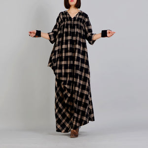 New black Plaid Loose fitting v neck cotton linen gown 2018 asymmetrical design kaftans