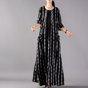 New black Plaid plus size clothing o neck baggy fall dresses 2018 pockets maxi dresses