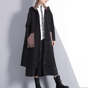 New black Winter coat oversize Hooded zippered outwear top quality pockets trench coat