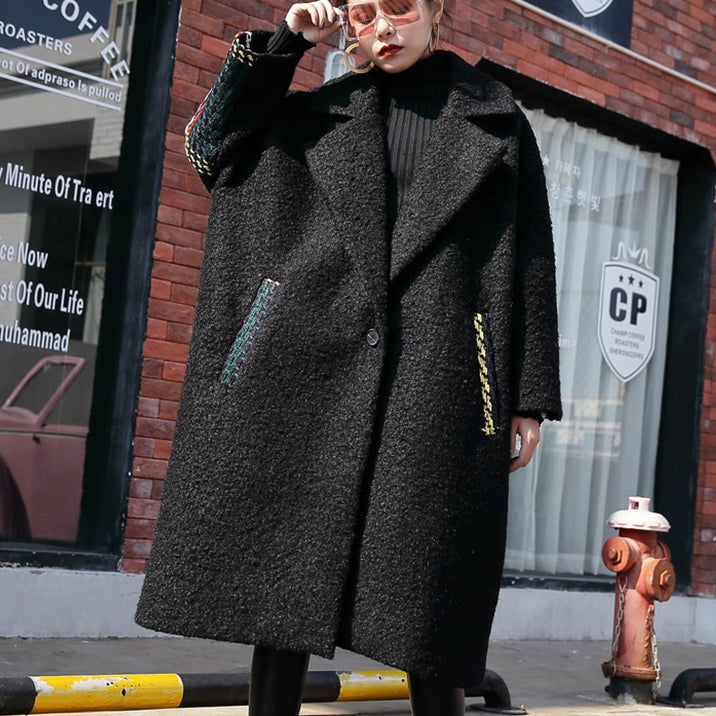 New black Winter coat oversized Notched back side open maxi coat women pockets patchwork long jackets