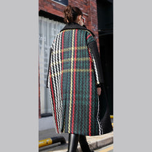 Load image into Gallery viewer, New black Winter coat oversized Notched back side open maxi coat women pockets patchwork long jackets