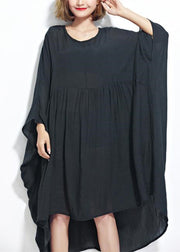 New black chiffon dresses plus size clothing linen maxi dress fine high waist batwing sleeve clothing