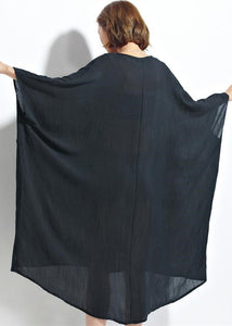 New black chiffon dresses plus size clothing linen maxi dress top quality high waist batwing sleeve clothing