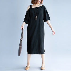 New black cotton dress plus size traveling dress boutique short sleeve baggy dresses o neck cotton clothing