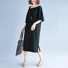 Load image into Gallery viewer, New black cotton dress plus size traveling dress boutique short sleeve baggy dresses o neck cotton clothing