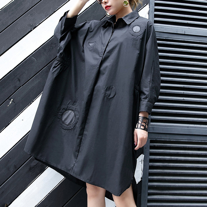 New black cotton knee dress plus size clothing cotton maxi dress women lapel collar asymmetric cotton dresses