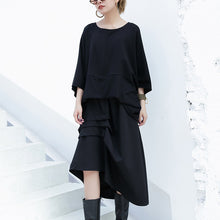 New black cotton waistcoat casual cotton t shirts women batwing sleeve loose waist brief t shirt