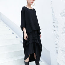 Load image into Gallery viewer, New black cotton waistcoat casual cotton t shirts women batwing sleeve loose waist brief t shirt