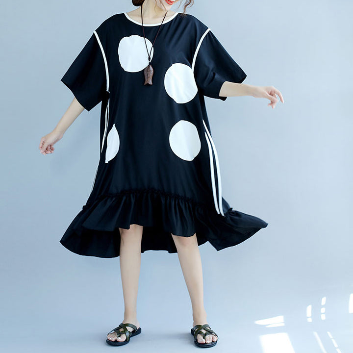 New black dotted cotton dresses plus size cotton clothing dresses vintage ruffles hem short sleeve cotton clothing dress
