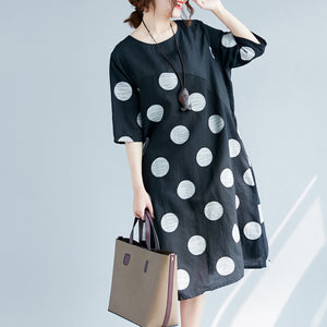 2e8f0784f28 New black dotted cotton linen dresses plus size clothing O neck pockets  cotton linen clothing dress