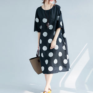 New black dotted cotton linen dresses plus size clothing O neck pockets cotton linen clothing dress 2018 half sleeve patchwork maxi dresses