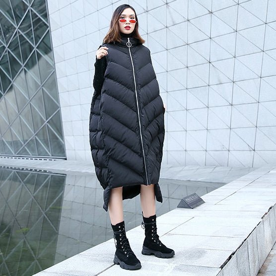 New black down tops trendy plus size hooded zippered down jacket Casual Sleeveless trench tops