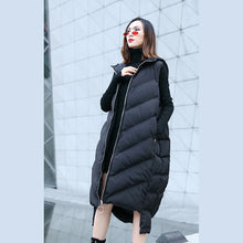 Load image into Gallery viewer, New black down tops trendy plus size hooded zippered down jacket Casual Sleeveless trench tops